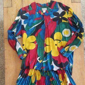 1980s Esprit Rayon Floral Blouse Skirt Set